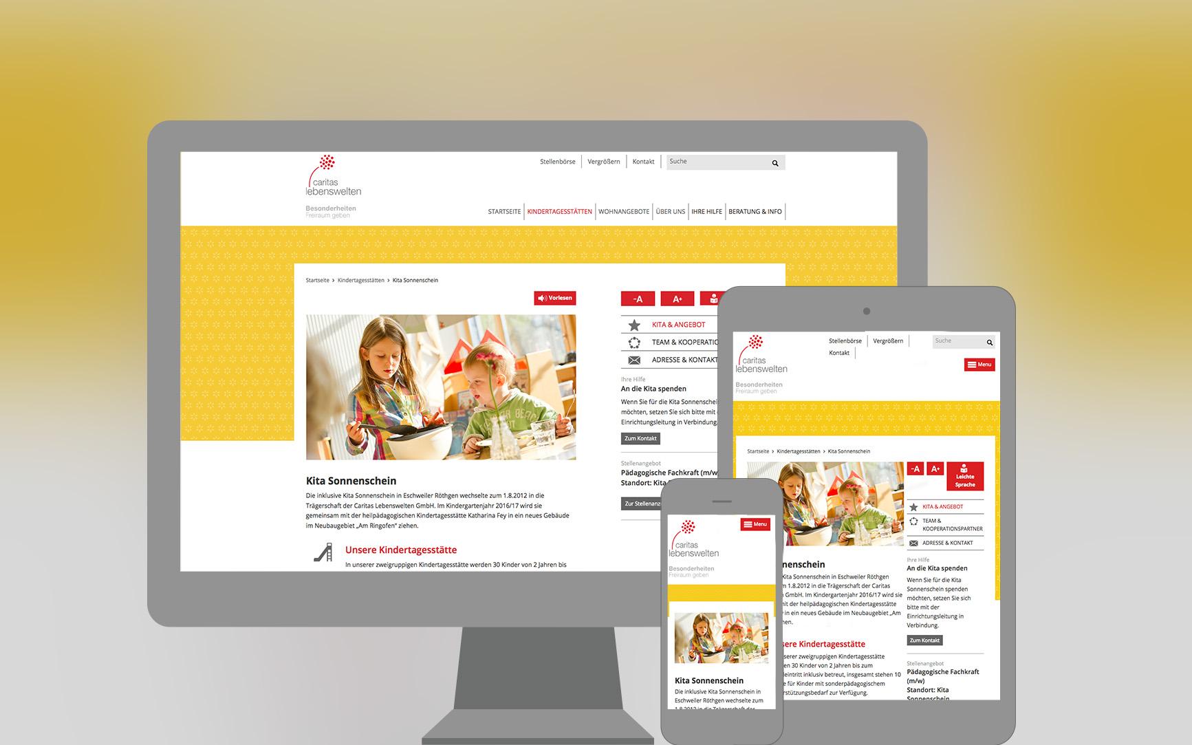 Caritas Lebenswelten Webseite responsive