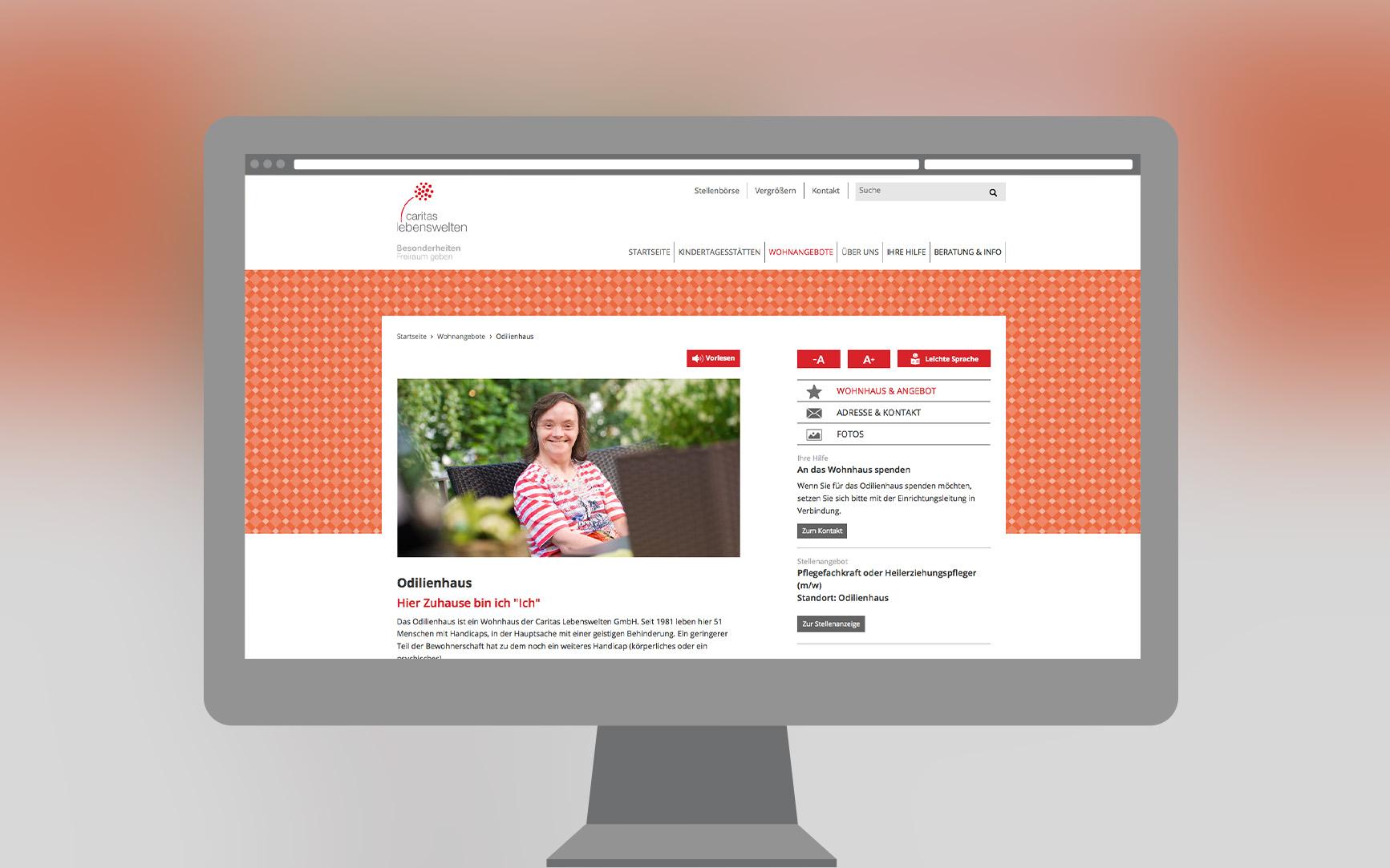 Caritas Lebenswelten Webseite